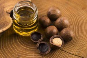 Macadamia nut oil on a table top