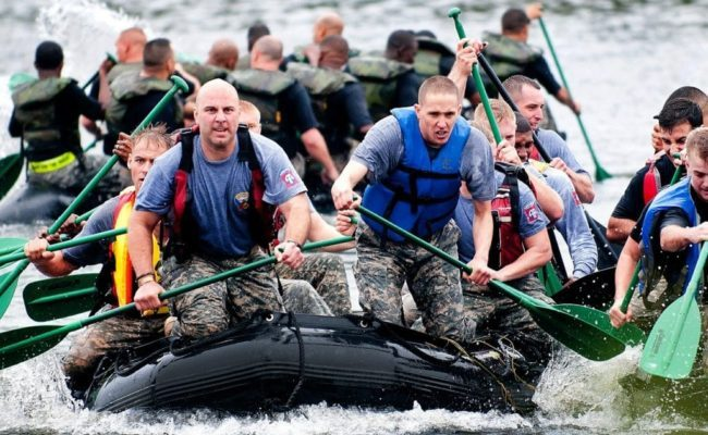 Marines using legal steroid alternatives rowing to shore