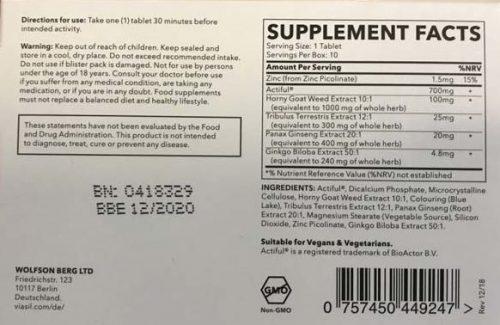 Viasil male enhancement ingredient list