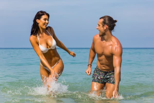Happy couple at the beach
