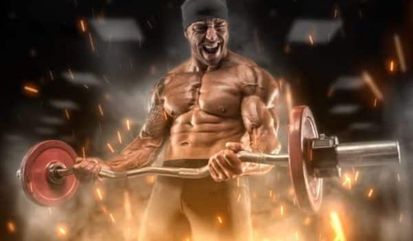 Intense athlete doing an arm curl workout routine