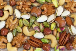 Selection of healthy nuts,almonds and sultanas
