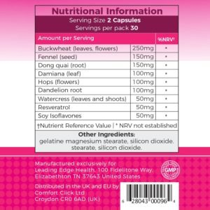 Total Curve ingredients label