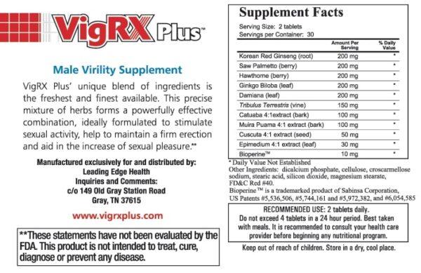 VigRX Plus ingredients that are included in its penis enlargement pills formula